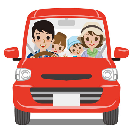 family with two children: Family Car Driving  Front view