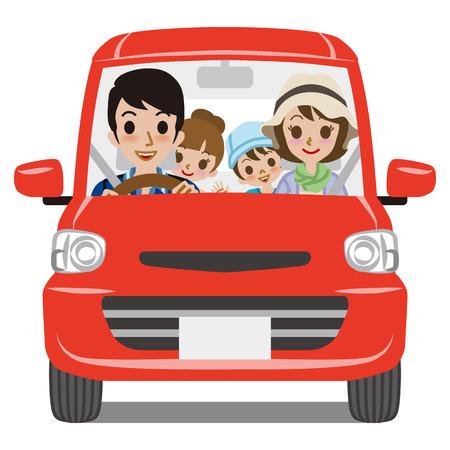 Ver Família Car Frente Driving Ilustração