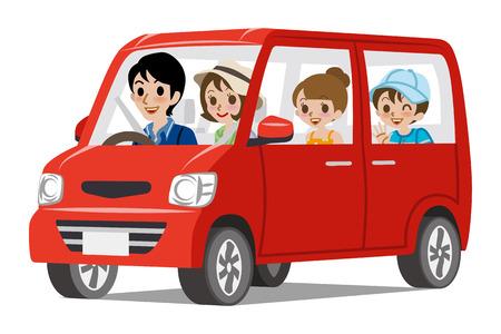 家族の車 DrivingSide ビュー  イラスト・ベクター素材