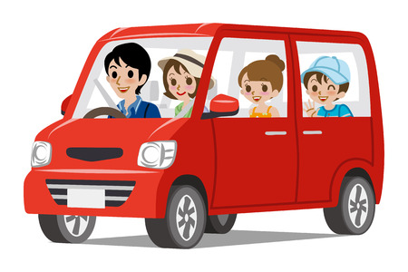 people travelling: Family Car DrivingSide view