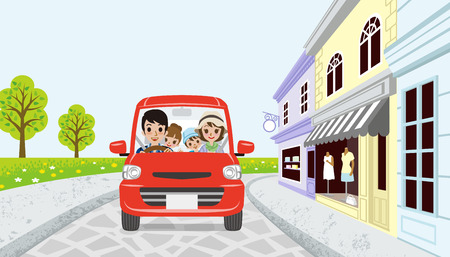Driving Family in spring small town