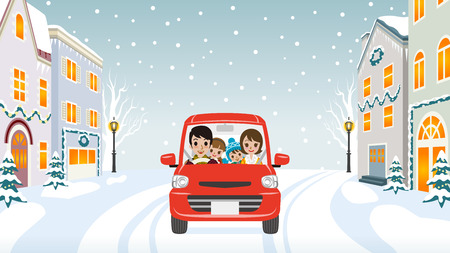 Driving Family Winter town 版權商用圖片 - 41262176