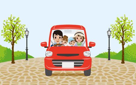 家族の車の運転  イラスト・ベクター素材