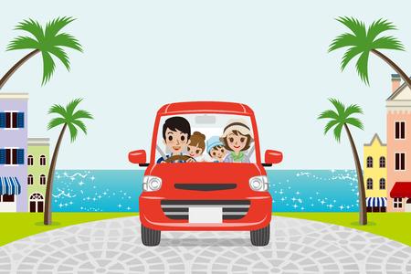 Driving Family Summer Seaside town Illustration