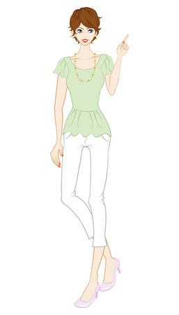 woman short hair: Short Hair woman  Pointing full length