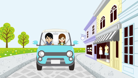 woman smile: Driving Couple in spring small town Illustration
