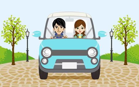 カップルの車の運転