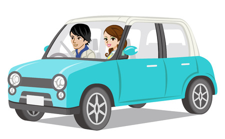 travelling: Couple Car Driving-Side view Illustration