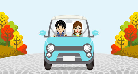 yellow car: Autumn Driving Couple