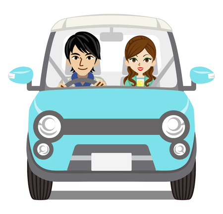 Couple Car Driving - Front view