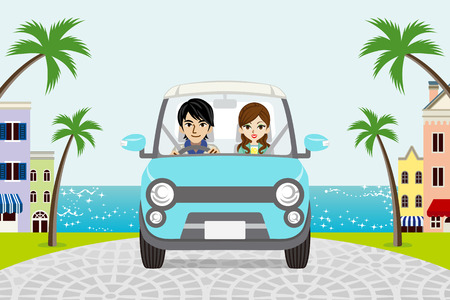 couple in summer: Driving Couple Summer Seaside town Illustration