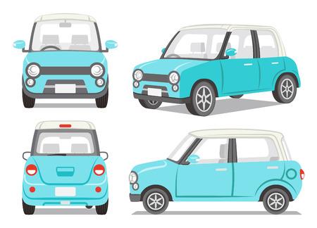 carro caricatura: Coche azul claro conjunto de cuatro ángulo
