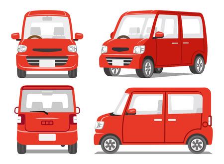 赤い車 4 角度セット  イラスト・ベクター素材