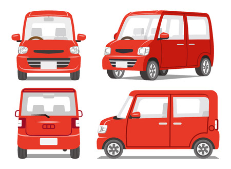 car side view: Red car four angle set