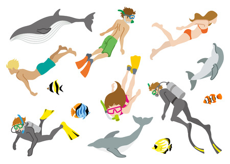 Swimming people and Marine life set Stock Illustratie