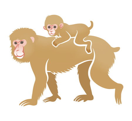 two child: Year of the Monkey Clip Art-Piggyback ride Illustration