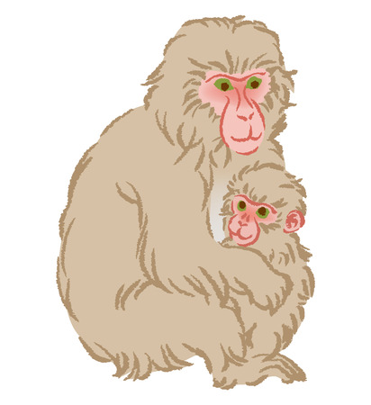 monkey clip: Year of the Monkey Clip Art-Mother hugging Child