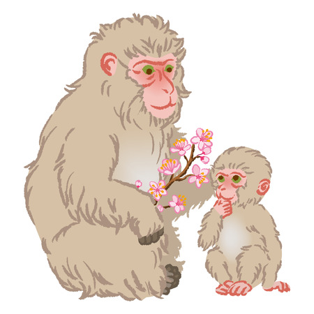 two child: Year of the Monkey Clip Art-Mother and Child