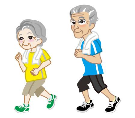 aging process: Senior Couple running, Short sleeve Illustration