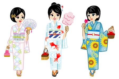 black woman: Three Yukata Girls Illustration