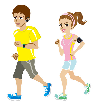 jogging: Running couple, Short sleeve