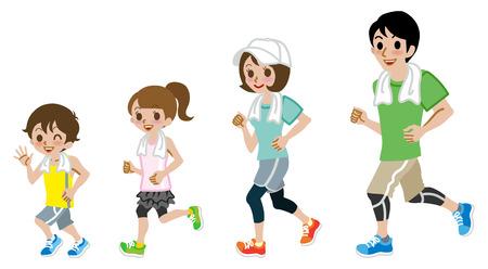 people jogging: Correr Familia, manga corta