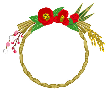 material flower: Camellia, Japanese Traditional Wreath decoration