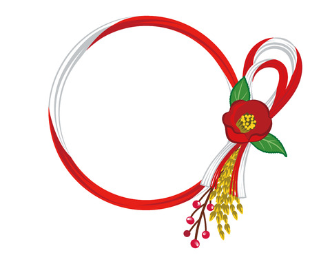 camellia: Japanese Traditional Wreath-camellia, Red and White Illustration