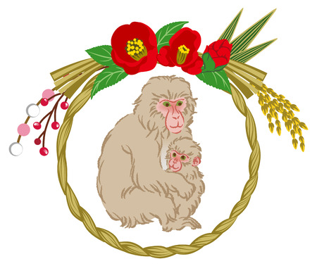 family clip art: Year Of The Monkey ornament, Mom and Child hugging