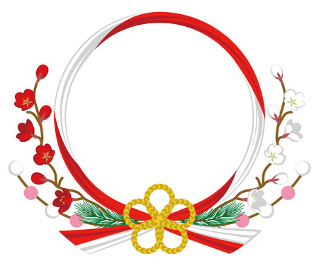japanese ethnicity: Japanese Traditional Wreath-Plum blossom, Red and White Illustration
