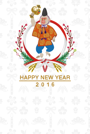 anthropomorphism: Japanese dressed monkey  Japanese new year card
