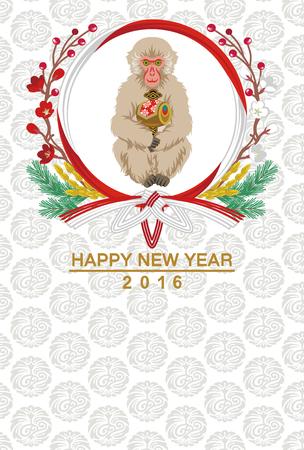 stil: Affe hold Mallet-japanische Neujahrskarte Illustration