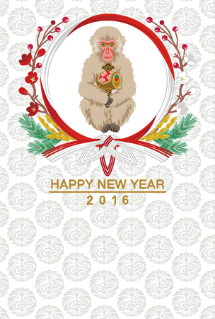 japanese new year: Monkey hold Mallet-Japanese new year card