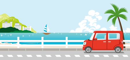 夏の自然の中の赤い車  イラスト・ベクター素材