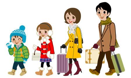 Winter Family traveller, Isolated Illustration