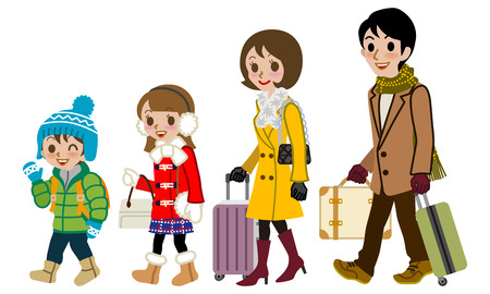 family isolated: Winter Family traveller, Isolated Illustration