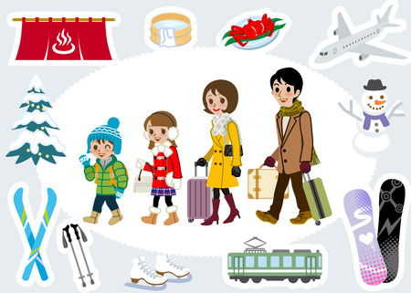 bagagli: Inverno set turista famiglia