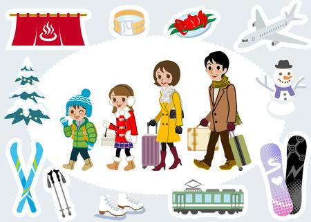 luggage travel: Winter family tourist set