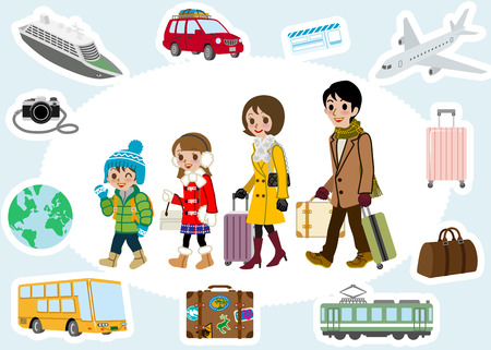 Vector father and son: Du lịch mùa đông gia đình và bộ giao thông vận tải