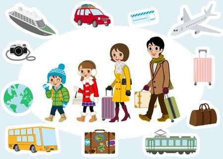 traveler: Winter Family traveler and transportation set