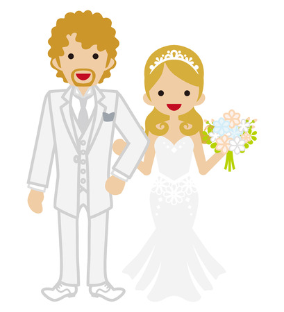 blond hair: Wedding - Heterosexual Couple - Blond hair Illustration