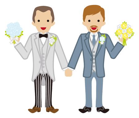 homosexuales: Boda gay cabeza pareja de afeitado Vectores