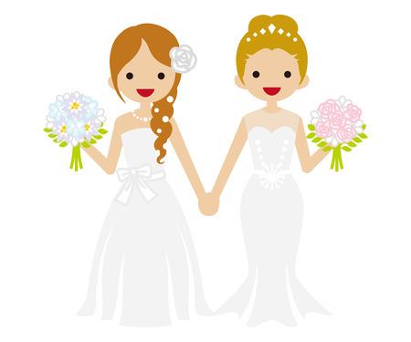レズビアン Updo と三つ編み髪の花嫁の結婚式