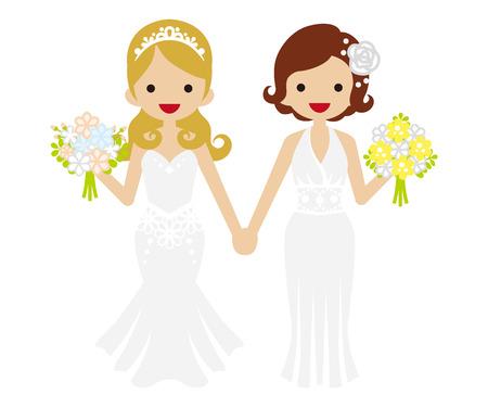 lesbienne: Mariage - Lesbiennes-Bobbed cheveux et Tiara mariée