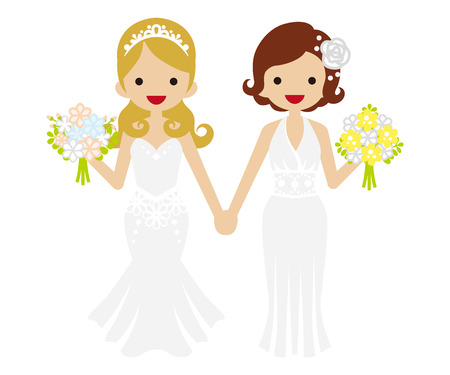 homosexual couple: Wedding - Lesbian-Bobbed hair and Tiara Bride