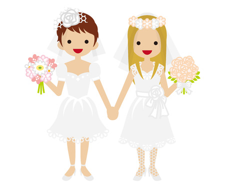 結婚式の花嫁 - レズビアン - ミニ スカート 写真素材 - 46809586