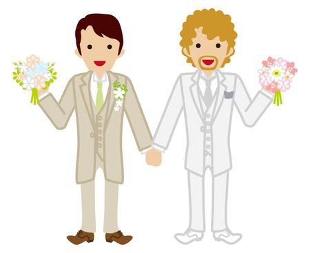 homosexual couple: Wedding-gay couple-Beige Suit