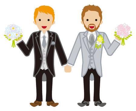 Wedding-gay couple-Red hair  イラスト・ベクター素材