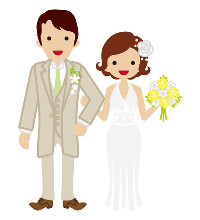 heterosexual couple: Wedding - Heterosexual Couple - Bobbed hair Bride