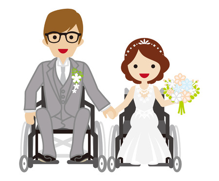 physical impairment: Wedding wheelchair couple
